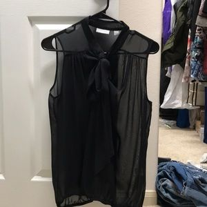 New York and Co Black shear Tie Top M